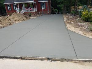 Fresh driveway pour